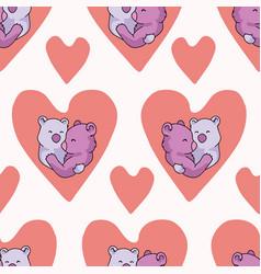 Coral bear hug hearts seamless repeat vector