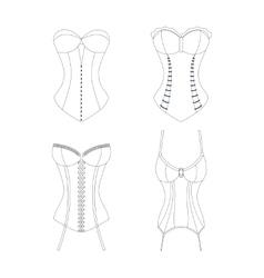 Corset Outline Set Vogue Clothing vector image
