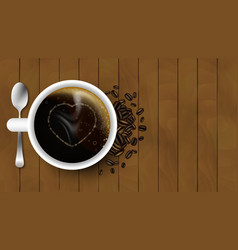 Cup of coffee with spoon heart coffee beans and vector