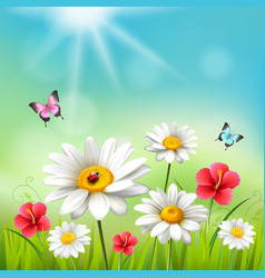 Daisy realistic 3d composition vector