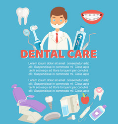 Dental care poster dental vector