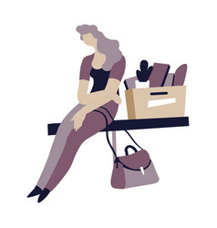 Depressed woman sitting carton box vector
