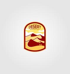 Desert landscape view logo vintage design vector