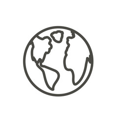earth icon outline world globe line plane vector image