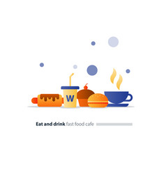 eat and drink set fast food flat icons cafe vector image