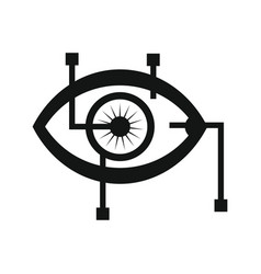 eye in virtual reality in silhouette style vector image