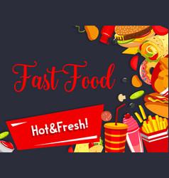 fast food restaurant meals menu poster vector image