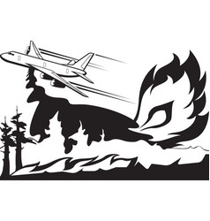 firefighting aircraft extinguishes forest fire vector image