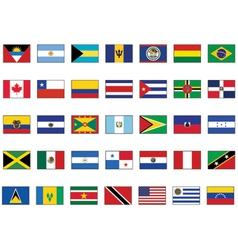 flag set all american countries vector image