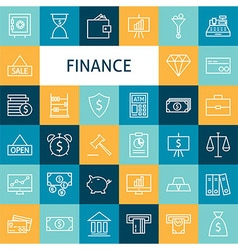 Flat Line Art Modern Finance Money and Banking vector image