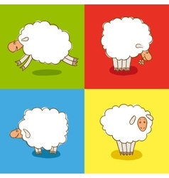 Four White Sheeps Isolated on colored background vector image