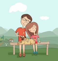 girl and boy with mops vector image vector image