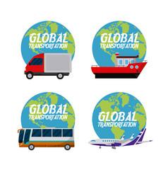 Global transport concept vector