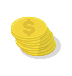 Gold coin stack icon vector