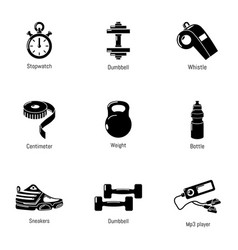good physical shape icons set simple style vector image