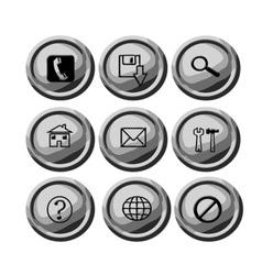 Grey circular buttons for web vector image