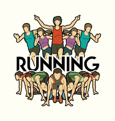 group of people running with text running marathon vector image