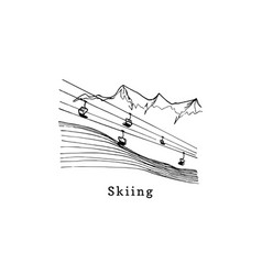 hand sketches ski liftmountain downhill vector image