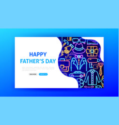 happy fathers day neon landing page vector image