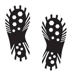 Human footprints with shoes silhouette footwear vector