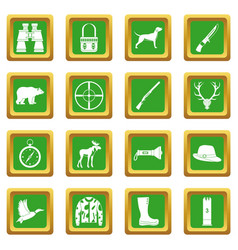 hunting icons set green vector image