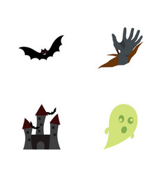 Icon flat halloween set of castle bat corpse vector