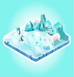 Isometric mini-world ice island or piece land vector