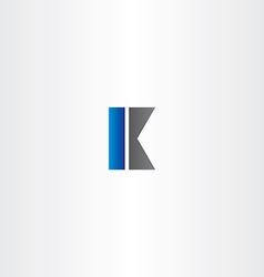 k letter black blue logo symbol vector image