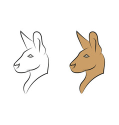kangaroo head side two icons animal vector image