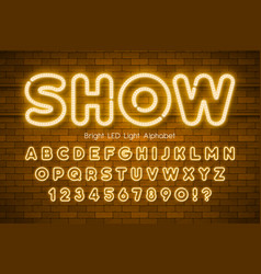 led light 3d alphabet extra glowing modern type vector image
