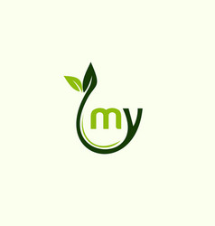 Letter my leaf naturally business logo vector