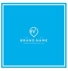 Letter rv pin logo design vector