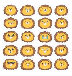 Lion face emoticons set vector