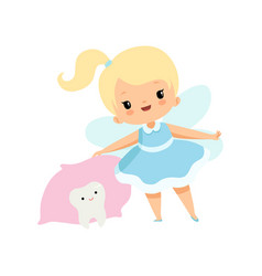 little tooth fairy and cute batooth under vector image