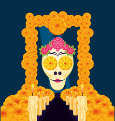 Mask of the santa death in frame flowers vector