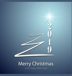 Merry christmas and happy new year 2019 background vector