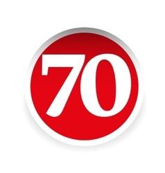 Number seventy red label vector