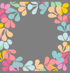 pastel colorful floral wreath frame on background vector image