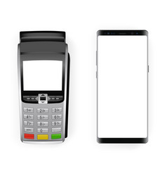 Payment terminal and smartphone vector