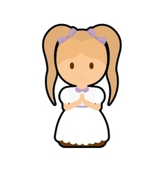 Pray girl kid religion icon vector image