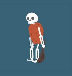 Prehistoric human skeleton with truncheon zombie vector