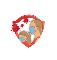 Protection mother and girl wearing medical mask vector