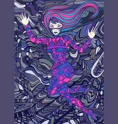 Psychedelic colorful cyberpunk girl surreal vector