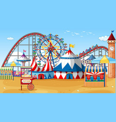 Scene with circus rides on beach at day time vector