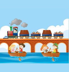 Scene with train and kids rowing boat vector