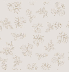 seamless pattern with hazelnut peach japanese vector image