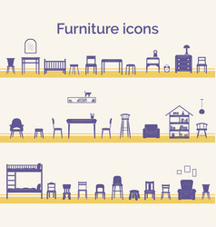 Set different furniture icons vector