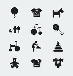 set of 12 editable infant icons includes symbols vector image