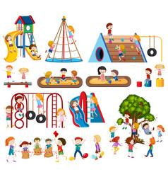 Set of children at playground vector
