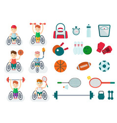 set of handicapped athlete on a wheelchair with vector image
